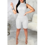 Lovely Sexy Skinny Silver One-piece Rompers