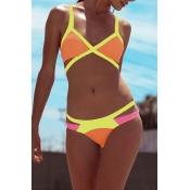 Lovely Sexy Patchwork Orange Bikinis