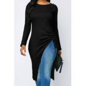 Lovely Casual Asymmetrical  Black Twilled Satin T-shirt