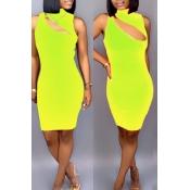 Precioso Sexy Ahuecado Mini Vestido De Mezcla De Color Amarillo