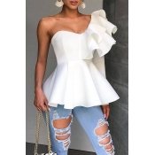 Lovely Sweet One Shoulder White Shirts