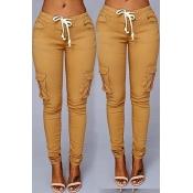 Lovely Trendy Skinny Drawstring Khaki Pants