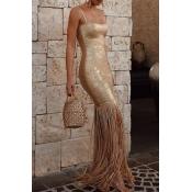 Lovely Elegant Tassel Design Gold Evening Gown Dre