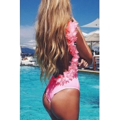 Lovely Sexy Three-dimensional Lace Pink One-piece