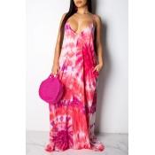 Lovely Sweet Backless Pink Floor Length Printed Dress