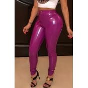 Pantalones De PU Morados Flacos De Moda Encantadores