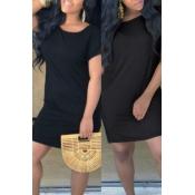Lovely Casual O Neck Loose Black Mini T-shirt Dress