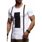 Lovely Casual Geometric Printed White Cotton T-shirt