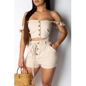 Lovely Casual Buttons Decorative Khaki Two-piece S