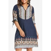 Lovely Plus-size Dots Printed Loose Dark Blue Mini