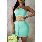 Lovely Casual Lace-up Blue Two-piece Skirt Set