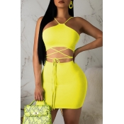 Lovely Casual Lace-up Yellow Two-piece Skirt Set