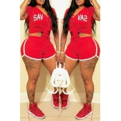 Lovely Casual Striped Red Two-piece Shorts Set