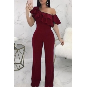 Lovely Casual Dew Shoulder Wine Red Knitting One-p
