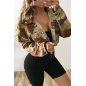 Lovely Casual Camouflage Printed Twilled Satin Jac