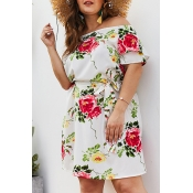 Lovely Plus-size Floral Printed White Mini Dress