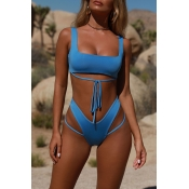 Lovely Trendy Hollowed-out Blue Two-piece Swimwear