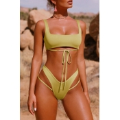 Lovely Trendy Hollowed-out Green Two-piece Swimwear