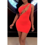 Lovely Sexy One Shoulder Red  Mini Dress