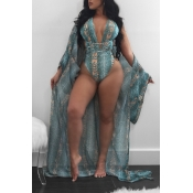 Lovely Trendy Print Blue One-piece Swimsuit (With