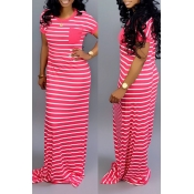 Lovely Casual Striped Rose Red Floor Length Maxi D