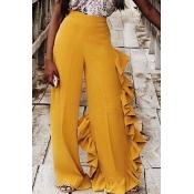 Lovely Fashion Ruffle Design Yellow Pants(With Ela
