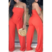 Lovely Simple Style Striped Lace-up Red Jumpsuit(W