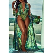 Lovely Casual V Neck Print One-piece Swimwear(With