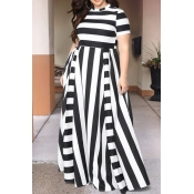 Lovely Black Striped Floor Length Dress(With Elast