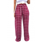 Lovely Wine Red High Waist Plaid Pants(With Elasti