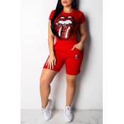 Lovely Casual Lip Print Red Two-piece Shorts Set