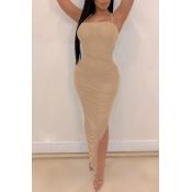 Lovely Sexy High Split Khaki Mid Calf Dress