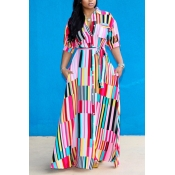 Lovely Bohemian Striped Dress(With Elastic)