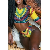 Lovely Ethnic Style Printed Two-piece Swimwear