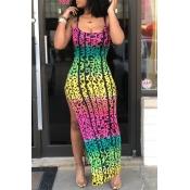 Lovely Casual Printed High Split Ankle Length Dres