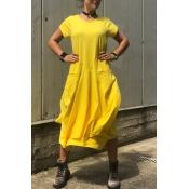 Lovely Casual O Neck Asymmetrical Yellow Maxi Dres