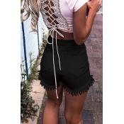 Lovely Casual High Wasit Tassel Design Black Short