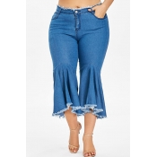 Lovely Stylish Tassel Design Royal Blue Flared Trousers