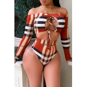 Lovely Casual  Hollowed-out Multicolor Two-piece Swimwear