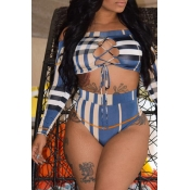 Lovely Plaids Hollow-out Blue Two-piece Swimwear