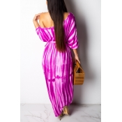 Lovely Casual One Shoulder Print Purple Dress(With