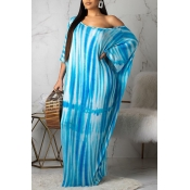 Lovely Casual One Shoulder Print Blue Dress(With E