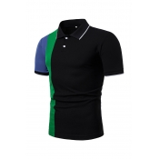 Lovely Leisure Patchwork Black Polo Shirts