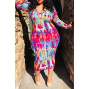 Lovely Plus-size Printed Slim Multicolor Mid Calf