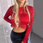 Lovely Casual Hollowed-out Red Knitting Shirts