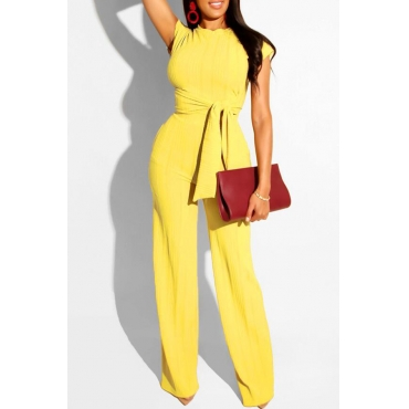 Lovely Trendy Knot Design Yellow Two-piece Pants Set