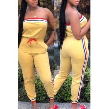 Lovely Sportswear Dew Shoulder Yellow One-piece Jumpsuit
