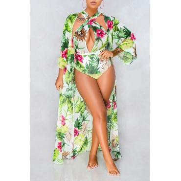 Linda Moda Floral Impresso Luz Verde One-piece Swimwears (com Encobrimentos)