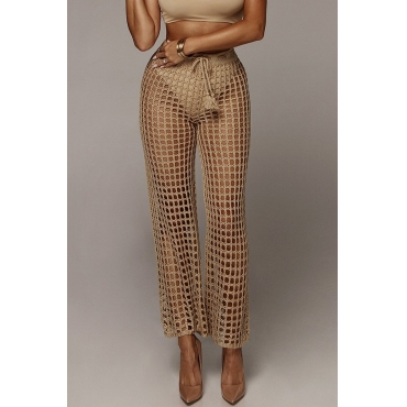 Lovely Sexy Hollowed-out Light Tan Knitting Pants