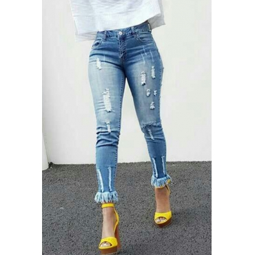 Lovely Casual Tassel Design Light Blue Denim Jeans